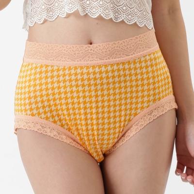 內褲 千鳥款100%蠶絲中高腰三角內褲 (黃) Chlansilk 闕蘭絹