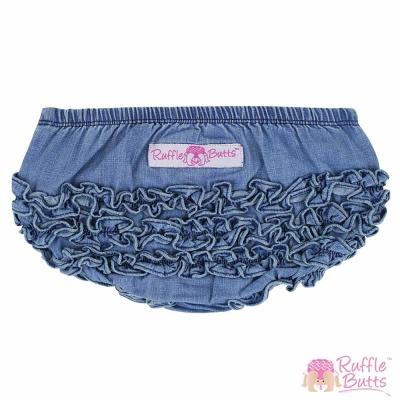 RuffleButts 小女童荷葉邊包屁褲-單寧款
