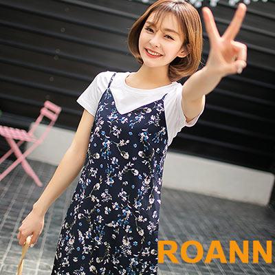 雪紡碎花吊帶洋裝 (藏青色)-ROANN