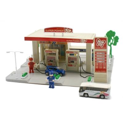 Amuzinc酷比樂 汽車軌道玩具加油站場景遊戲組(附兩台車和人偶)