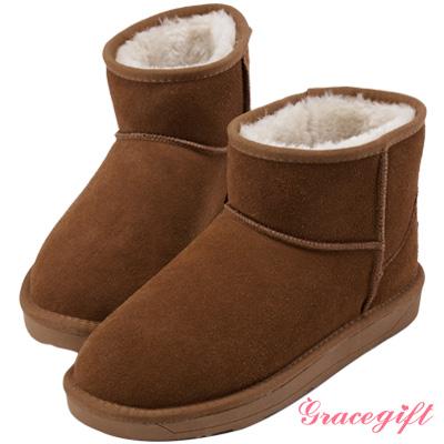 Grace gift-真皮素面百搭雪靴 棕