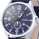 CURREN 卡瑞恩 極速時光 簡約皮革男錶 藍41mm