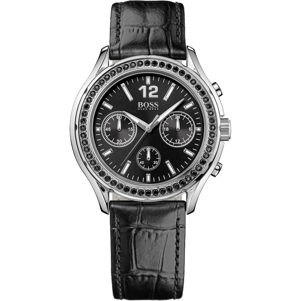 Hugo Boss 珍珠時尚晶鑽計時腕錶-黑/38mm