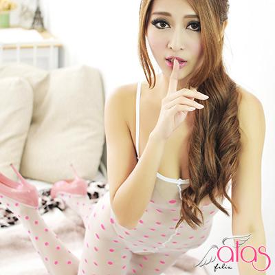 alas 貓裝網衣- 萌幻圓點紗織連身絲襪 (白粉點)