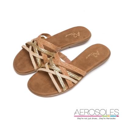 AEROSOLES-彩色麻花交叉編織帶粗低跟涼鞋-優雅米色