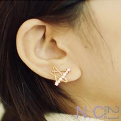 N.C21-鏤空星星線條水鑽點綴耳環 (金色)