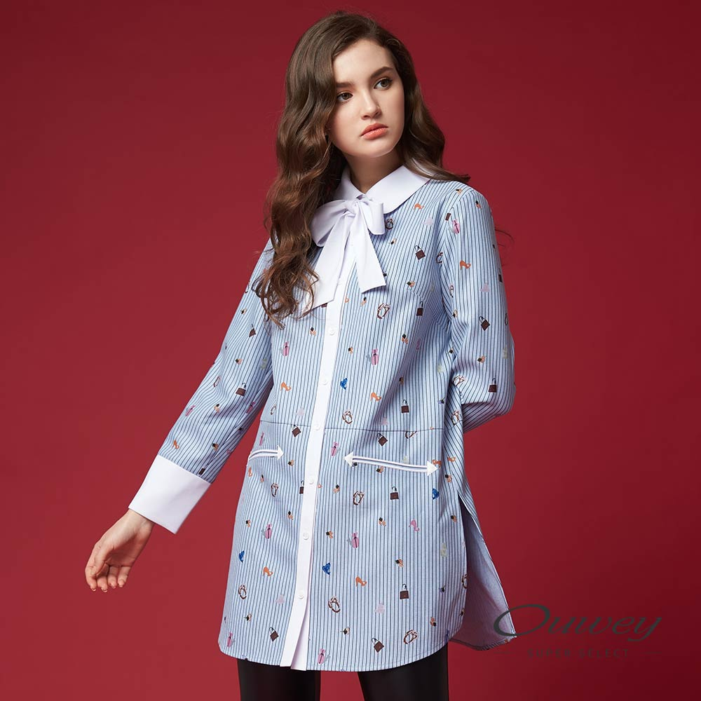 OUWEY歐薇 可愛時尚印花長版上衣(藍)