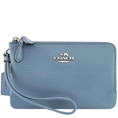 COACH 天空藍色馬車皮革壓紋雙層手拿包