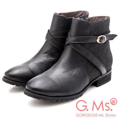 G.Ms. 牛皮拼接格紋交叉皮帶釦短靴-黑色