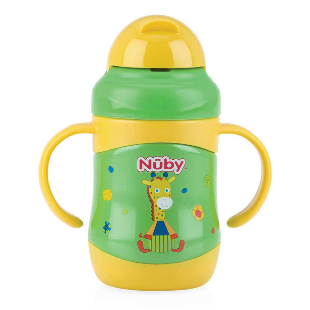 Nuby 220ML不鏽鋼真空學習杯(粗吸管)長頸鹿(12M+)