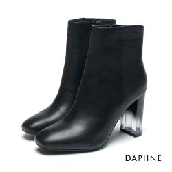 達芙妮DAPHNE 短靴-霧面牛紋透明粗跟短靴-黑