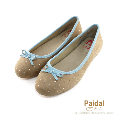 paidal 星光聚焦點點貼鑽淑女包鞋娃娃鞋-白卡其