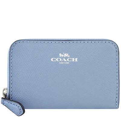 COACH 粉藍色防刮皮革拉鍊名片夾/零錢包