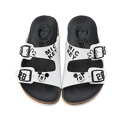 迪士尼 米奇 復古造型 休閒拖鞋-白
