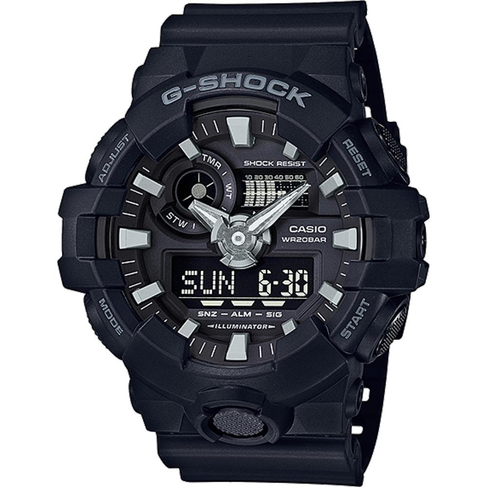 G-SHOCK GA-700系列絕對強悍雙顯腕錶(GA-700-1B)-黑/53.4mm