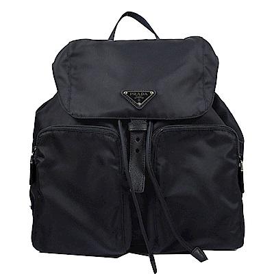 PRADA 三角LOGO經典尼龍雙口袋後背包(深藍)