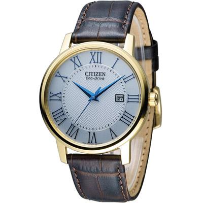 CITIZEN 羅馬美學經典腕錶(BM6752-02A)-白x金框/40mm