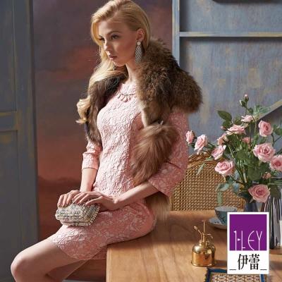 ILEY伊蕾-寶石蕾絲腰身纖細洋裝-粉