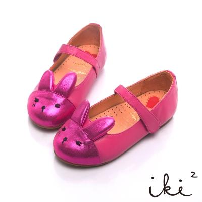 iki2童鞋 咕妮兔系列-羊皮粉嫩跳色娃娃鞋-桃