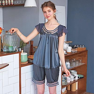 睡衣 優雅彈力珍珠絲兩件式睡衣 (R97001-6典雅灰) 蕾妮塔塔
