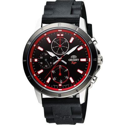 ORIENT 東方錶 SP 系列 炫彩三眼日曆運動石英錶-黑x紅圈/44mm