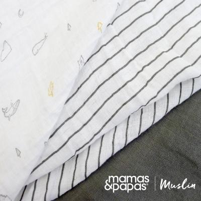 【Mamas & Papas】Muslin紗布巾組3入-森林灰