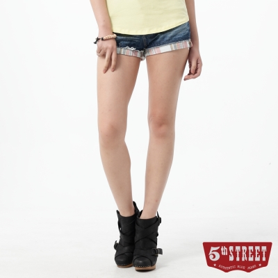 5th STREET 短褲 1965反摺格紋牛仔短褲-女-中古藍