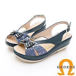 GEORGE 喬治-蝴蝶結飾釦厚底涼鞋-藍