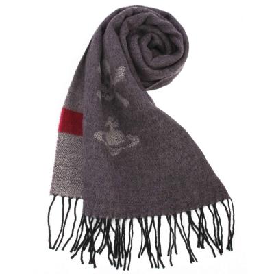 Vivienne Westwood 骷髏行星素面羊毛圍巾-深紫色