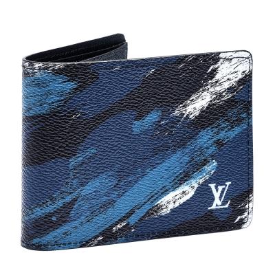 LV M61748 經典 SLENDER 毛筆畫式迷彩短夾(藍)