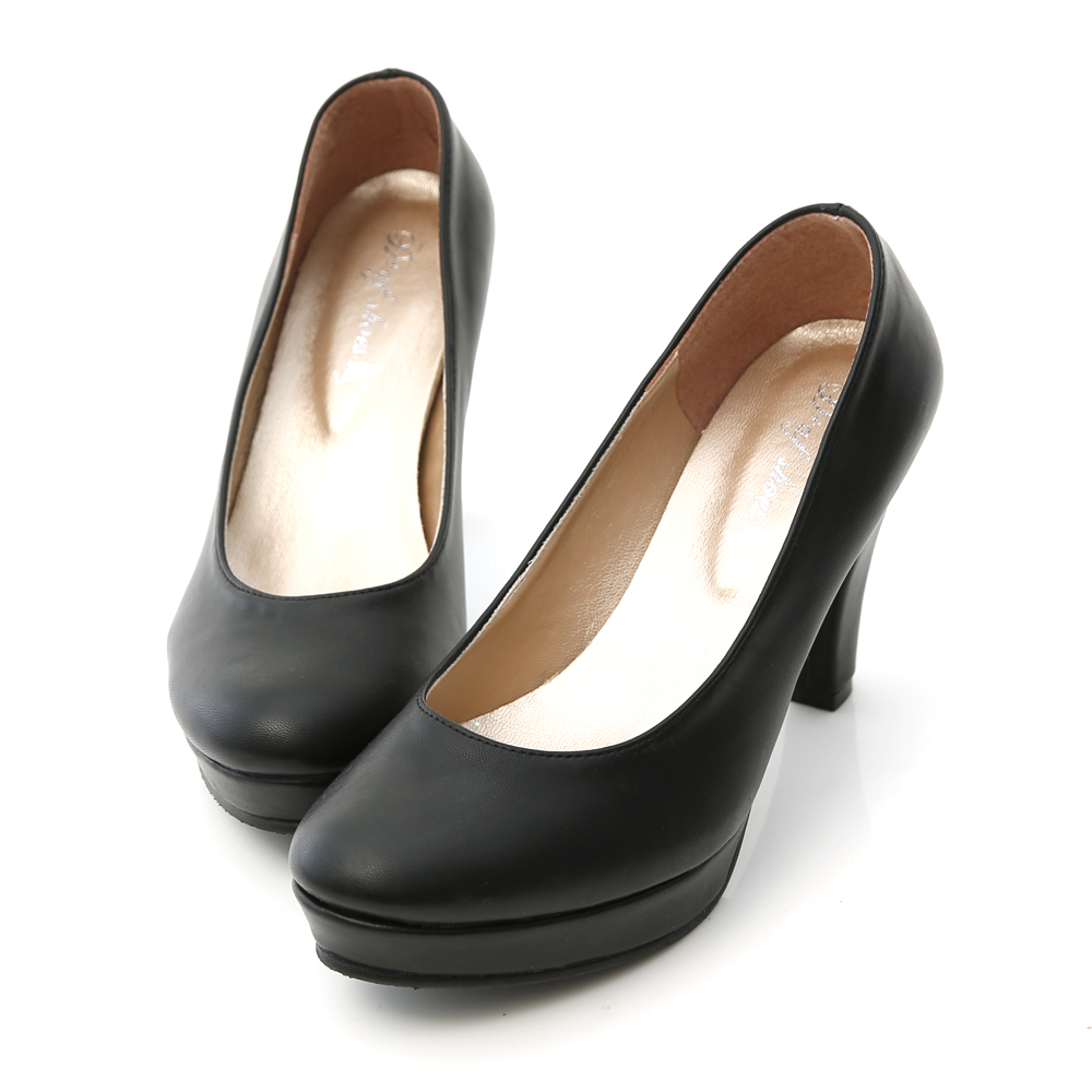D+AF 經典主打‧MIT素面圓頭8.5cm高跟鞋*黑