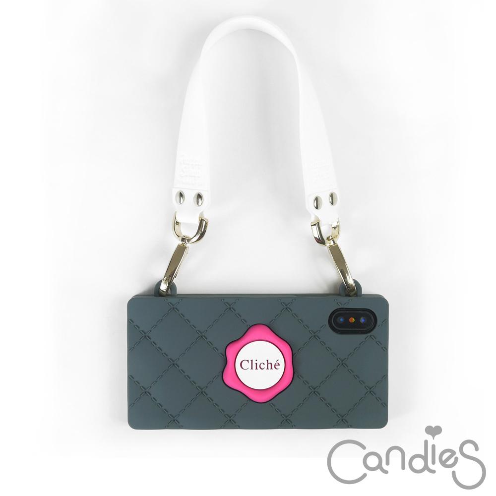 Candies Happy Strap Cliche晚宴包(灰粉) iPhone X