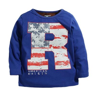 歐美風 美國國旗R 男童純棉長袖T恤