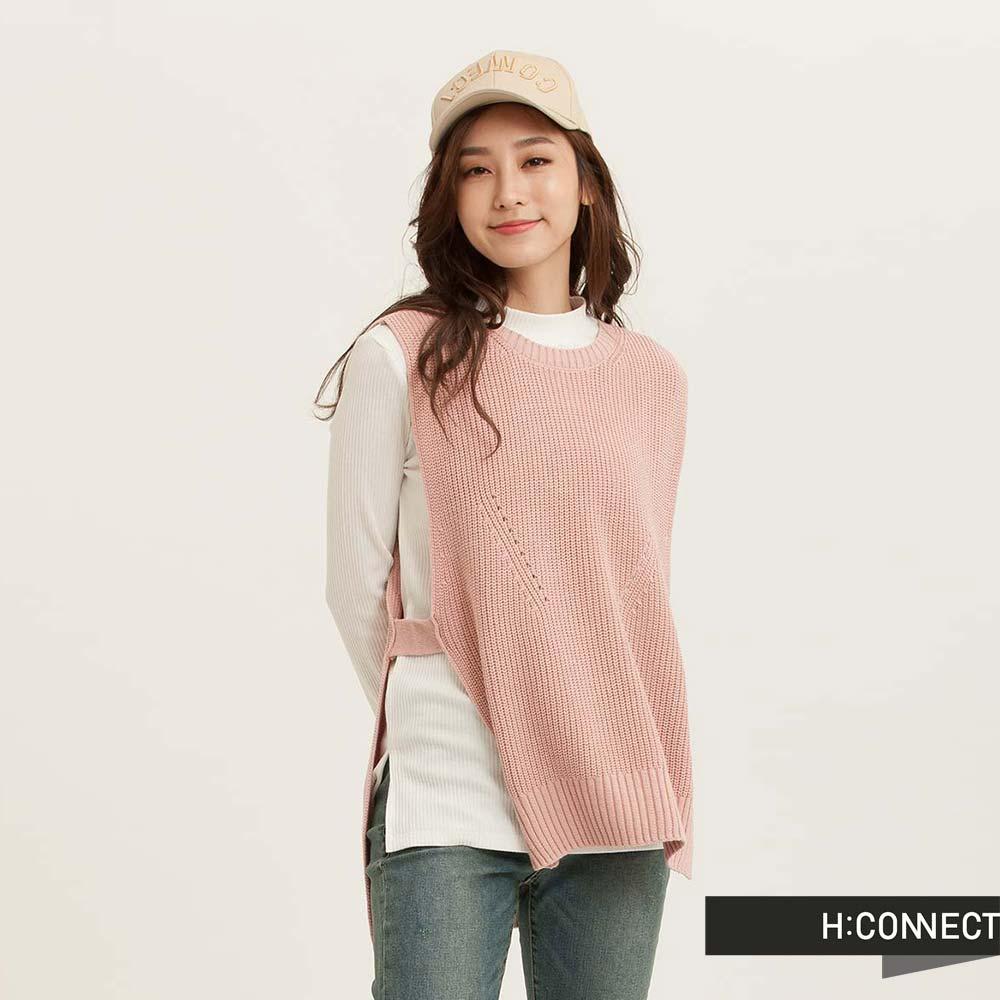 H:CONNECT韓國品牌女裝設計感側開針織背心粉