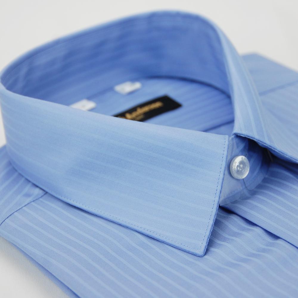 金‧安德森 藍色易整燙窄版長袖襯衫fast