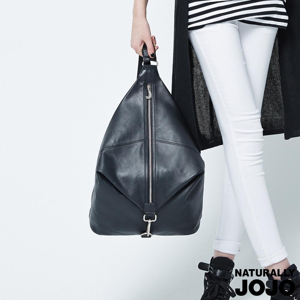 NATURALLY JOJO 頂級真皮造型後背包(黑)