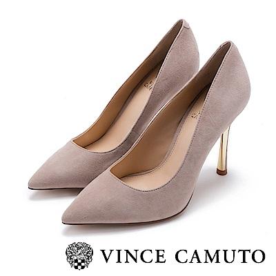 Vince Camuto 時髦女伶 性感尖頭金屬跟高跟鞋-絨灰