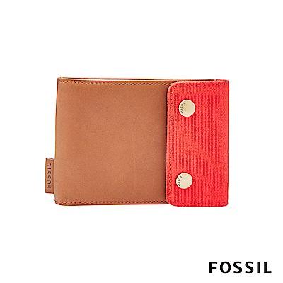 FOSSIL REX 帆布真皮RFID短夾-焦糖色
