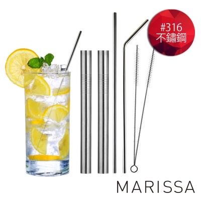 韓國MARISSA 頂級加長版316不鏽鋼吸管便利6入組