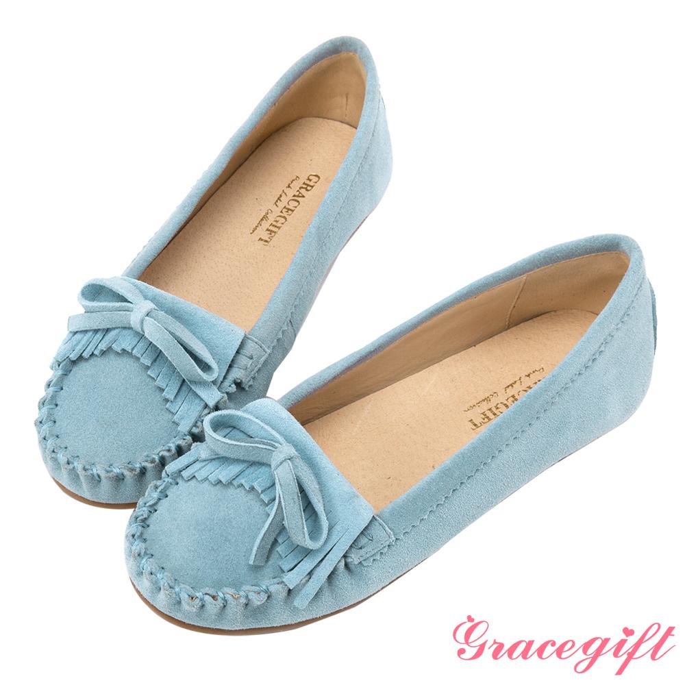 Grace gift-真皮蝴蝶結流蘇莫卡辛鞋 淺藍