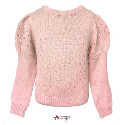 Annys甜美公主袖設計透視針織上衣*5265粉
