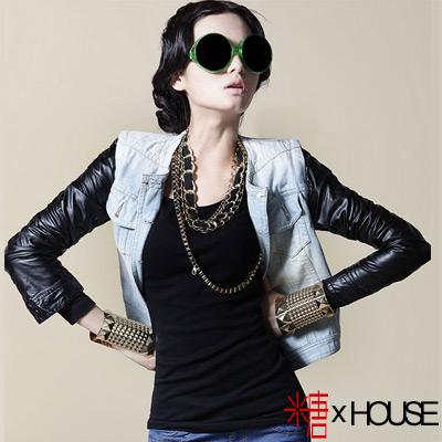 可拆卸皮袖兩穿牛仔外套 (藍色)-糖 x House