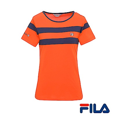 FILA女性圓領條紋T恤(橘紅)5TER-1438-OR