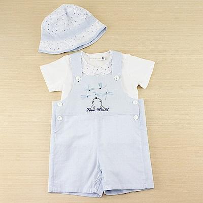 愛的世界 小兔蜻蜓兩件式短袖吊帶褲3件組禮盒/6M~1歲