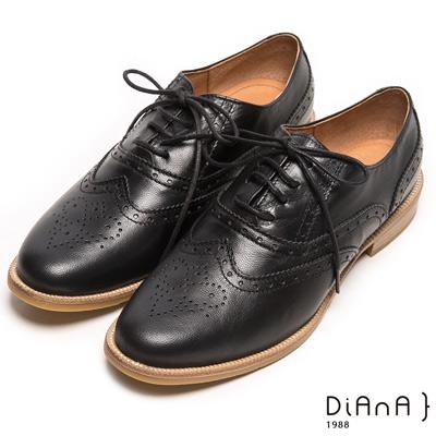 DIANA 經典發燒--英倫雕花沖孔綁帶真皮牛津鞋-黑
