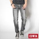 EDWIN 視覺刷色 B.T皮剪接純棉窄直筒褲-男款(灰色)