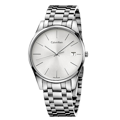 CK CALVIN KLEIN Time 時光系列白色面盤手錶-40mm