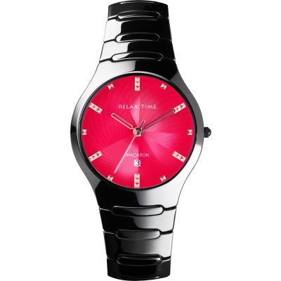 Relax Time Sweet 馬卡龍陶瓷時尚腕錶-桃紅x黑/37mm