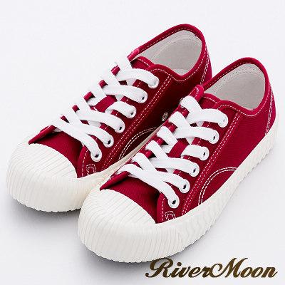 River&Moon休閒鞋-韓版繫帶厚底帆布餅乾鞋-酒紅