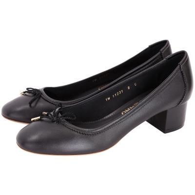 Salvatore Ferragamo ENEA 40 蝴蝶綁帶羊皮粗跟鞋(黑色)